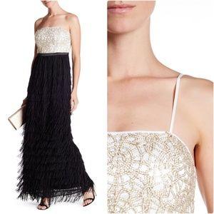 Nicole Miller New York Fringed Strapless Dress